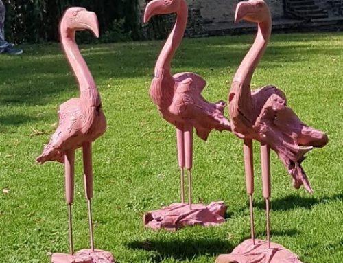 Flamingo aus Teakholz